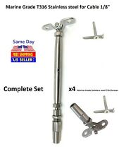 """Cable Railing T316 Stainless Steel Swageless Tensioner Deck Toggle-1/8"""" Cable"""