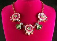 Betsey Johnson Picnic necklace with 3 pink flowers and Pink and green Navettes
