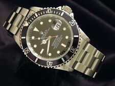Mens Rolex Submariner Date Stainless Steel Watch Oyster Band Black Dial & Bezel