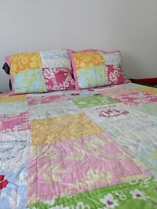 🌺Pottery Barn Kids Island Surf Aloha Hawaii Patchwork Quilt Set Full/Queen Pink