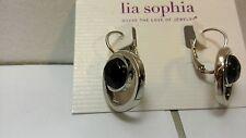 lia sophia jewelry drop Haywire Earrings with Black Stones silver tone