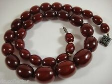 Antique Heavy Bakelite Cherry Amber Barrel Marbled Bead Necklace Faturan Estate