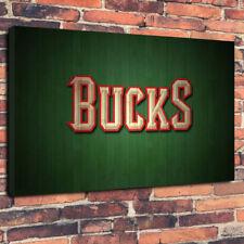 "Milwaukee Equipo de baloncesto NBA impreso cuadro lienzo A1.30""x20"" 30 mm Marco Profundo"