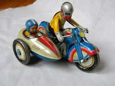 VINTAGE TOY MOTORCYCLE SIDECAR WIND UP ORIGINAL BOX PERFECT CONDITION