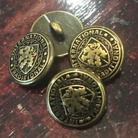 5 X Gold / Black Round Shank Buttons 16mm Military - Coat Of Arms - Shield Lion