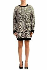 Just Cavalli Leopard Pattern Fringe Decorated Women's Sweater Dress US s IT 40