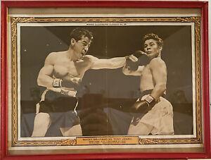 Vintage Boxing  Picture Rocky Graziano Vs Tony Janiero Ny Ny Oct 27 1950  Framed