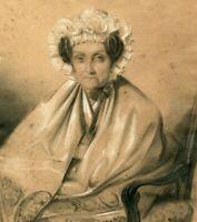 Original 19th century Antique Vintage Old Pencil Drawing - Woman Portrait, Hat