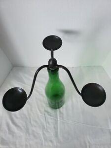 """Metal """"Bottle-abra"""" Wine Bottle Candle Holder"""