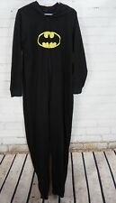 Batman Fleece One Piece Hooded Pajamas Union Suit Adult Womens XL Black
