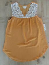 Women's Belle De Jour crochet top sleeveless blouse dark yellow ivory  s NWT