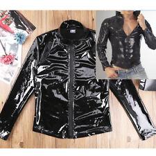 Latex T shirt Men Sexy Patent Leather Long SLEEVE Nightclub Costume Tank Top Tee