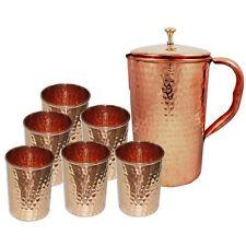 SET of 7 Pcs Indian 100% Copper Water Hammered Jug + 6 Tumbler Benifit Health