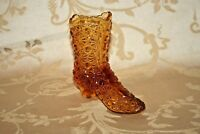 "Vintage 4.25"" Long Daisy Button Pattern Amber Glass Slipper Boot Shoe Planter"