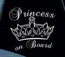 Princess on Board - Baby on Board car van window sticker many colours VW jdm