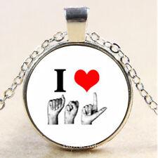 Photo Cabochon Glass Silver Chain Pendant Necklace(Quote I love ASL)