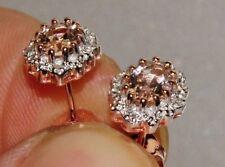 9ct Rose Gold Morganite & Diamond Ladies Cluster Stud Earrings ~