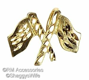 Race Flags Charm Pendant EP Gold Plated Jewelry Gifts with a Lifetime Guarantee!