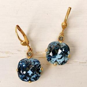 La Vie Parisienne Catherine Popesco Large Round Crystal Earrings in Midnight