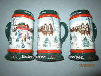 "1991 Budweiser Holiday Christmas Beer Steins ""The Season's Best"" - 3 available"