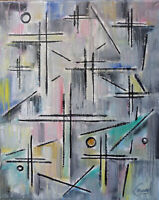 abstract A SMALL FORTUNE oil painting 8x10 canvas original art signed Crowell US