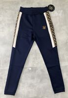 Men's Navy SikSilk Tapered Hybrid Panel Track Pants, Size Small, RRP £50