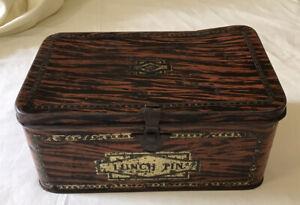 Vintage Lunch Box Tin. Wood Grain Effect