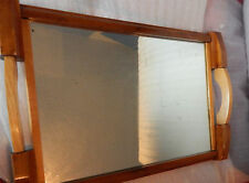Mid century modern mirrored glass wooden tray 53cm x33 cm .