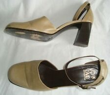 JOAN & DAVID SIZE 10 M BEIGE  ANKLE STRAP HEEL SHOES SHARP MADE IN ITALY