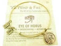 Wind and Fire Eye of Horus Gold Charm Wire Bangle Stackable Bracelet New Gift