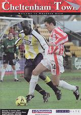 Football Programme>CHELTENHAM TOWN v HARTLEPOOL UNITED Jan 2001