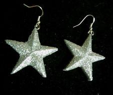 NORA WINN UNIQUE  EARRINGS SILVER GLITTER STAR DALLAS COWBOYS CHRISTMAS
