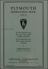 1935 Plymouth Owner Manual Instruction Book PJ Owners User Guide Book