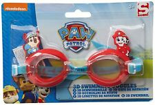 PAW PATROL 3D SWIMMING GOGGLES AID KIDS FUN GIFT SUMMER POOL JUNIOR EASY RED NEW