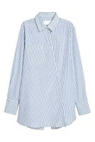H&M CONSCIOUS EXCLUSIVE Striped Silk Blouse Shirt Asymmetric M 40 10 White Blue
