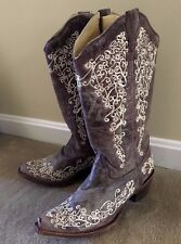 Corral Vintage Women's Floral Gray Embroidered Cowgirl Boots Size 8 Bone A1094 2