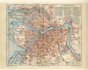 1909 RUSSIA ST.PETERSBURG CITY PLAN Antique Map dated