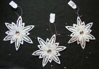 3 x Large White Glitter Flower Christmas Tree Hanging Decorations Wedding Decor