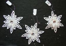 3 x Large White Glitter Flower Christmas Tree Hanging Decorations Wedding Decor