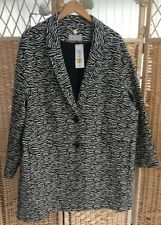 M&S Per Una Cotton Rich Animal Print Coat Size UK 24 BNWT £69 Black  Beige Zebra