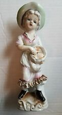 Girl or Woman Holding a Basket of Fish Fgurine Vintage Made in Japan Mid Century