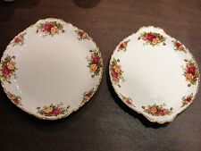 """ROYAL ALBERT OLD COUNTRY ROSE 2 CAKE PLATES 10 1/4"""" AND 10 1/2"""""""