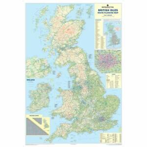 LARGE UK ROAD MAP WALL POSTER LAMINATED OF GREAT BRITAIN UK AND ISLES
