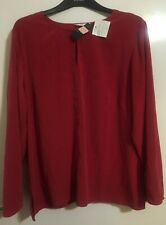 M&S St.Michael Sueded Polyester Ladies Red Top Blouse Shirt reEvening Casual 22