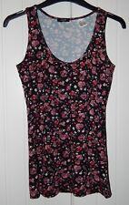 BNWOT Black & Pink Floral Stretch Sleeveless Summer Vest Top size 8 (La Redoute)
