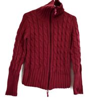 Cabela's Women Small Regular Full Zip Up Cable Knitted Sweater Cardigan Jacket