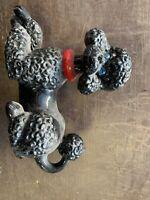 VINTAGE BLACK PORCELAIN POODLE DOG FIGURINE BEAUTIFUL DESIGN ATLANTIC MOLD