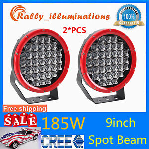 2X 9inch 185W CREE LED Round Work Light Spot Driving HeadLight offroad Boat RED