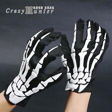 Black N White Motorcycle Biker Goth Mechanics Skeleton Gloves Skull bone