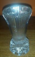 """VINTAGE CLEAR  GLASS VASE APPX 5"""" TALL"""